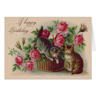 Lettre de carte de roses de panier de chat