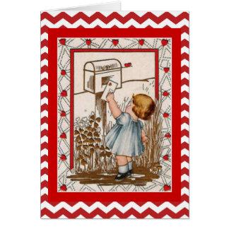 Lettre de expédition de fille mignonne vintage de carte