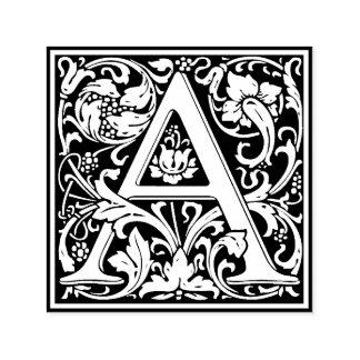 Lettre florale vintage élégante un monogramme tampon auto-encreur