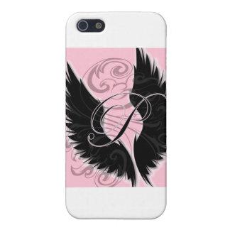 Lettre noire noire du monogramme P d'aile Coque iPhone 5