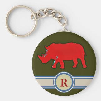 lettre nommée du rhinocéros R Porte-clé Rond
