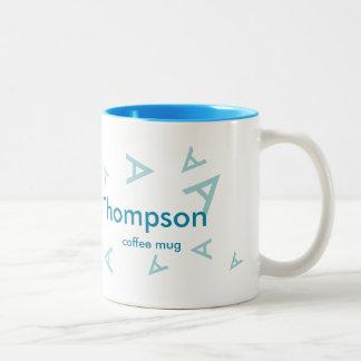 lettre nommée et initiale, cool bleu de tasse 2 couleurs