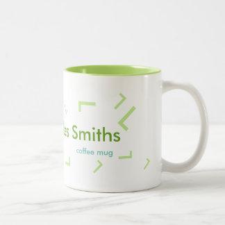 lettre nommée et initiale, cool vert de tasse 2 couleurs