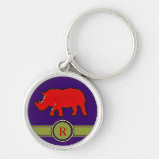 lettre nommée initiale du rhinocéros R Porte-clé Rond Argenté