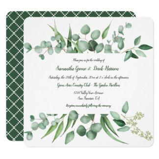 L'eucalyptus laisse des invitations de carré de