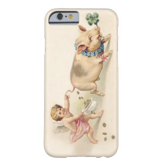 Leuk Grappig Vintage Varken en Engel die samen lop Barely There iPhone 6 Hoesje