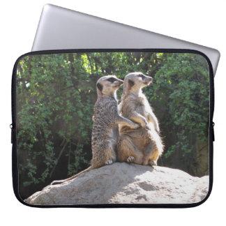 Leuk Paar Meerkat op Laptop van de Rots Hoesje Computer Sleeve