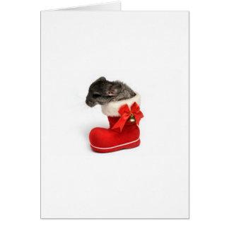 Leuke Chinchilla in de Kous van Kerstmis Briefkaarten 0
