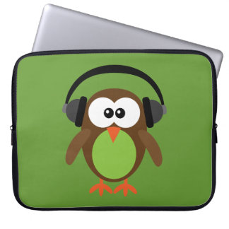 Leuke Retro Uil DJ met Hoofdtelefoons Laptop Sleeve