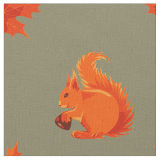 Leuke Rode Eekhoorn met Kastanje en Rode Bladeren Stof