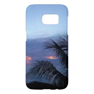 Lever de soleil bleu sombre avec le palmier coque samsung galaxy s7