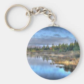 Lever de soleil d'automne au lac Maine Moosehead Porte-clé Rond