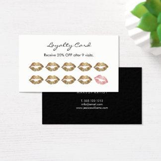 Lèvres chics d'or de fidélité de maquilleur cartes de visite