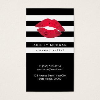 Lèvres rouges de maquillage moderne - rayures cartes de visite