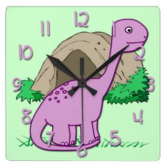 L'horloge murale carrée de l'enfant mignon de horloge carrée