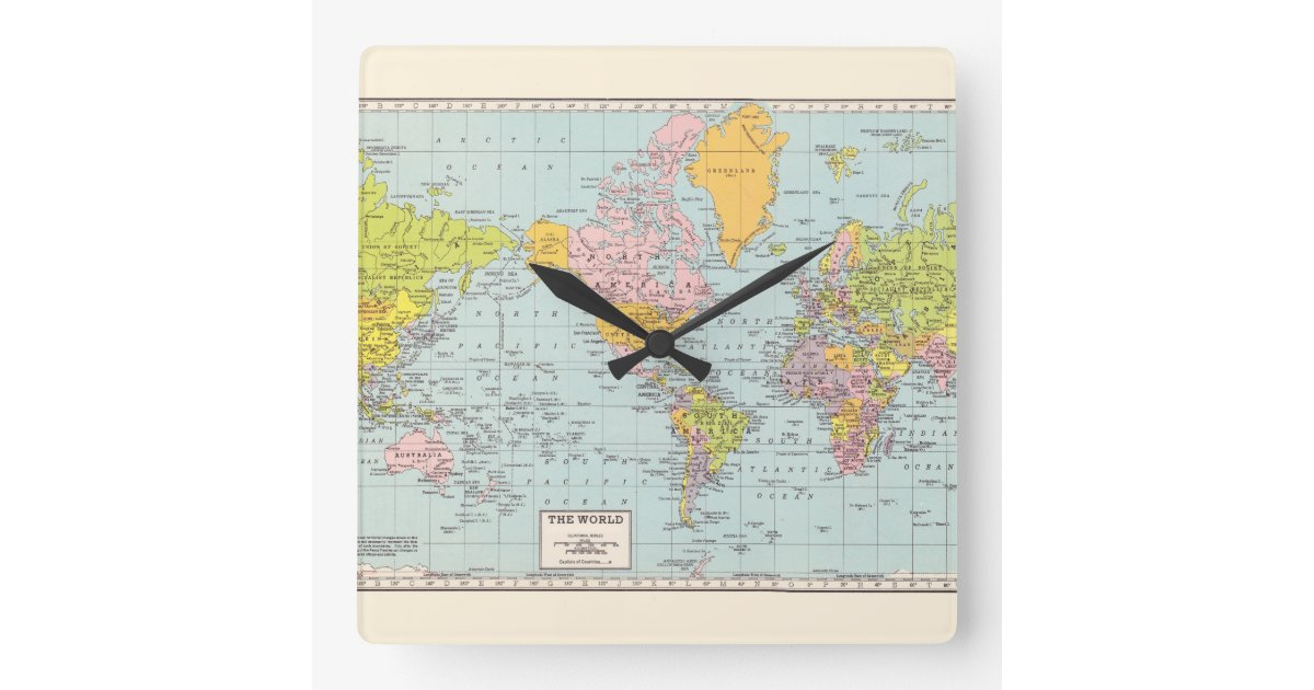 l 39 horloge murale de carte du monde horloge carr e zazzle. Black Bedroom Furniture Sets. Home Design Ideas