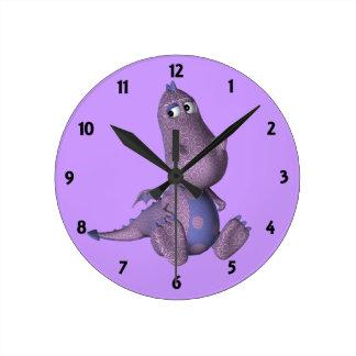 L'horloge murale de étude des enfants pourpres de  horloge ronde