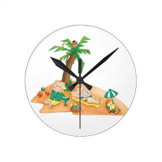 L'horloge murale de l'enfant de jours d'été horloge ronde