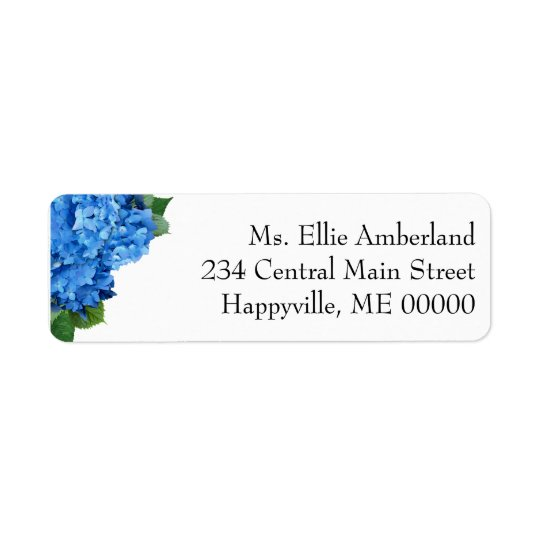L'hortensia bleu fleurit l'adresse de retour étiquette d'adresse retour