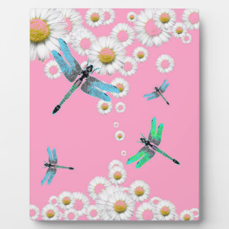 libellules bleues et roses roses plaque photo
