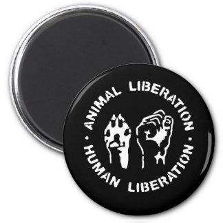 Libération animale d'humain de libération magnet rond 8 cm