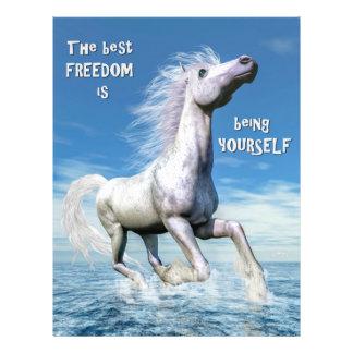 Liberté de cheval blanc - 3D rendent Prospectus 21,6 Cm X 24,94 Cm
