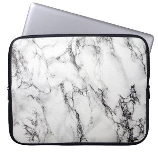 Lichtgrijze Witte Zwarte Marmeren Steen Laptop Sleeve