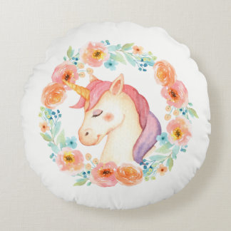 Licorne avec le coussin floral de guirlande