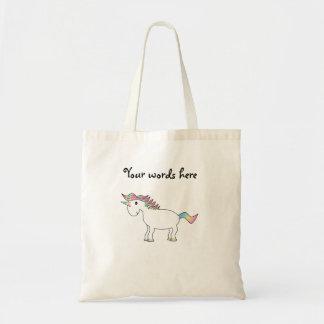 Licorne blanche mignonne d'arc-en-ciel sac en toile budget