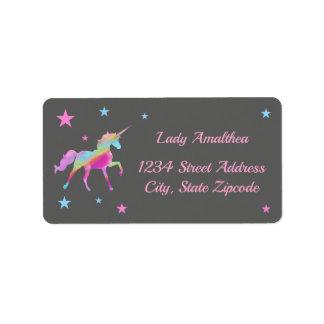 Licorne d'arc-en-ciel et étiquette de adresse