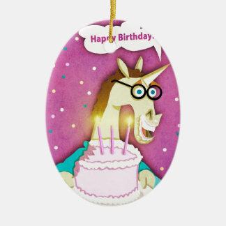 Licorne de gâteau d'anniversaire ornement ovale en céramique