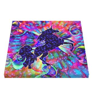 LICORNE DE L'UNIVERS multicolore Toile