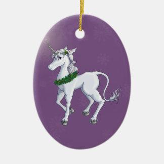 Licorne de Noël Ornement Ovale En Céramique