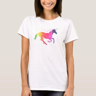 Licorne de rose d'arc-en-ciel t-shirt