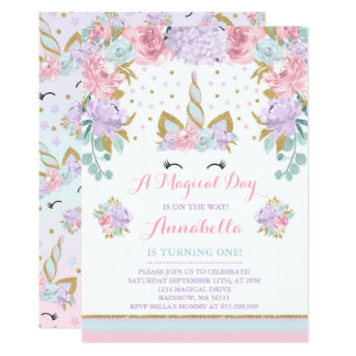 Licorne d'or de rose d'invitation d'anniversaire carton d'invitation  12,7 cm x 17,78 cm