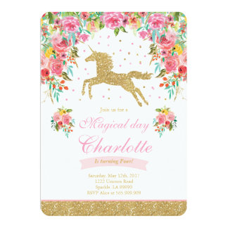 Licorne d'or de rose d'invitation d'anniversaire carton d'invitation  12,7 cm x 17,78 cm