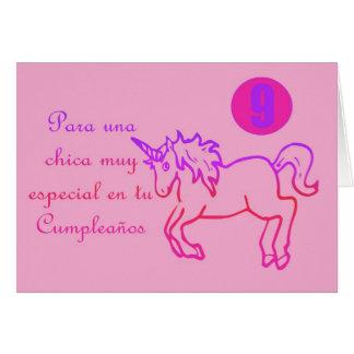 Licorne espagnole 9 d'anniversaire de Feliz Cumple Cartes De Vœux