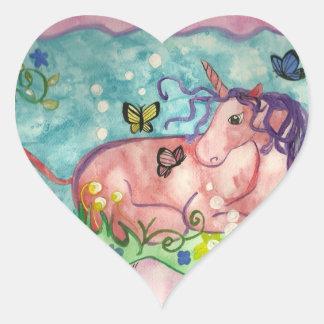 licorne et autocollant en forme de coeur de Cie.