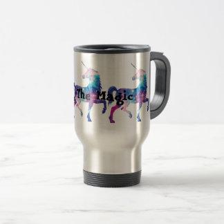 Licorne magique scintillante mug de voyage en acier inoxydable