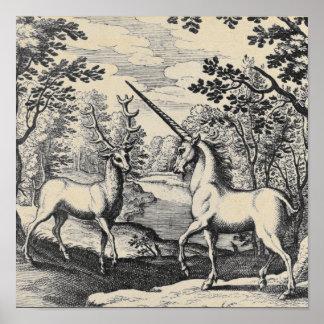 Licorne mythique dans la forêt
