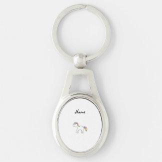 Licorne nommée personnalisée de bébé d'arc-en-ciel porte-clé ovale argenté