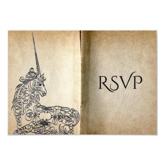 Licorne RSVP de livre d'histoire Carton D'invitation 8,89 Cm X 12,70 Cm