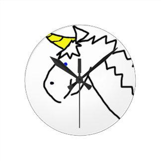 Licorne tirée horloge ronde
