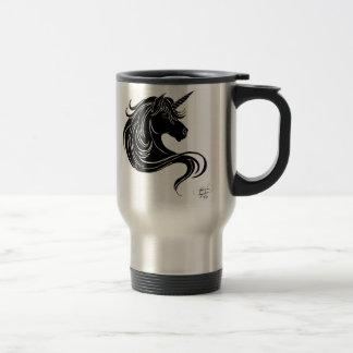 licorne tribale noire mug de voyage en acier inoxydable