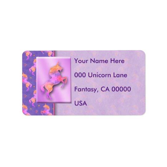 Licornes roses étiquette d'adresse