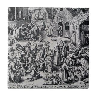 Liefdadigheid door Pieter Bruegel Ouder Tegeltje