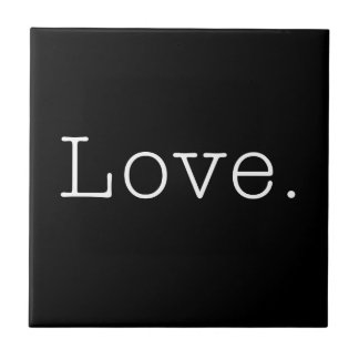 Liefde. De zwart-witte Sjabloon van het Citaat van Keramisch Tegeltje