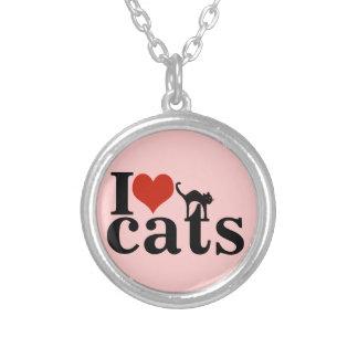 liefde katten zilver vergulden ketting