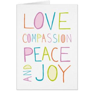 Liefde, Medeleven, Vrede, Vreugde Wenskaart