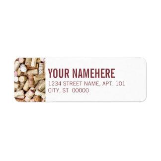 Lièges de vin étiquette d'adresse retour